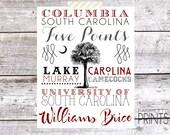 Custom Columbia South Carolina Typography Print - 8x10 Print *Digital Item*