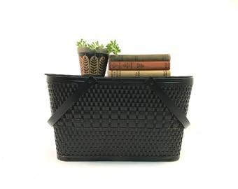 Vintage Black Woven Picnic Basket /Storage Basket / Hinged Lid / Rustic Farmhouse Decor / 1950s Redman