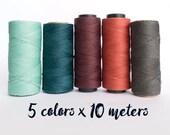 Linhasita macrame thread, linhasita macrame cord, polyester macrame thread, 5 color ocean set, ocean 50 meters macrame thread macrame cord