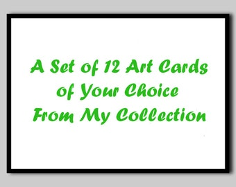 A Set of 12 Art Cards Your Own Choice Greeting Cards Watercolor Notecards Art Cards Blank Notecards Colorful Envelopes Stationary