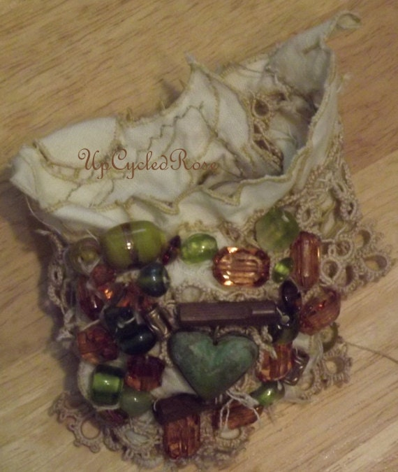 Wrist Cuff Hand Made with Love Bohemian Couture OOAK Ready to Ship