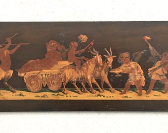 ANTIQUE 19th Cent. SORRENTO Marquetry Inlaid Panel Aphrodite, Pan & Eros Signed Intarsiato - Good Antique Condition !