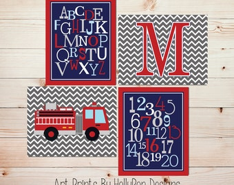 Firetruck wall art  Baby boy nursery art prints Nursery wall art ABC prints Kids decor Navy red nursery art Kids firetruck Baby decor #1655
