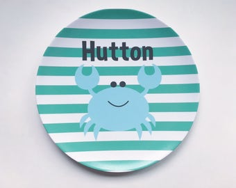 Personalized Melamine Plate - Crab, Summer, Beach