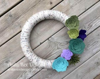 Felt Succulent Wreath, Yarn Wreath, Spring Succulent Wreath, Birch Wreath, Spring Wreath, Succulent Decor