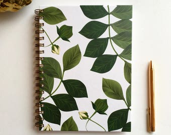 Blank Journal, Spiral Notebook, Journals and Notebooks, Botanical Print, Gifts for Her