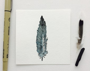 Original Blue Fairy Wren Feather 4x4 Watercolor and Ink