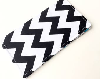 Fabric Checkbook Cover, Checkbook Holder, Checkbook Wallet, Coupon Holder, Organizer, Cute Checkbook- Black White Chevron Blue Polka Dots