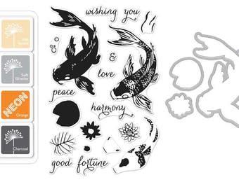 "Hero Arts ""KOI"" Fish Clear Stamps + Frame Cuts Dies + Mini Ink Pad Set"