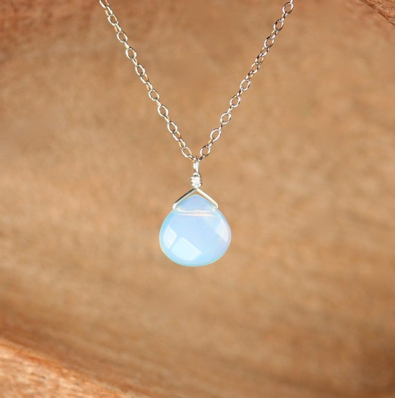 Opalite necklace - rainbow opalite - moonstone necklace - a faceted opalite wire wrapped onto a sterling silver chain
