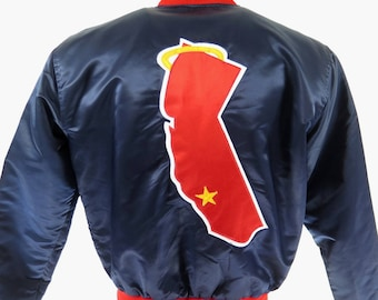 Vintage 80s California Anaheim Angels Starter Jacket Mens L Satin MLB Baseball [H72G_1-8]