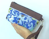 Lucky Dip Clutch:  Abstract Mauve Floral Paisley with Brown Polka-dot Trim