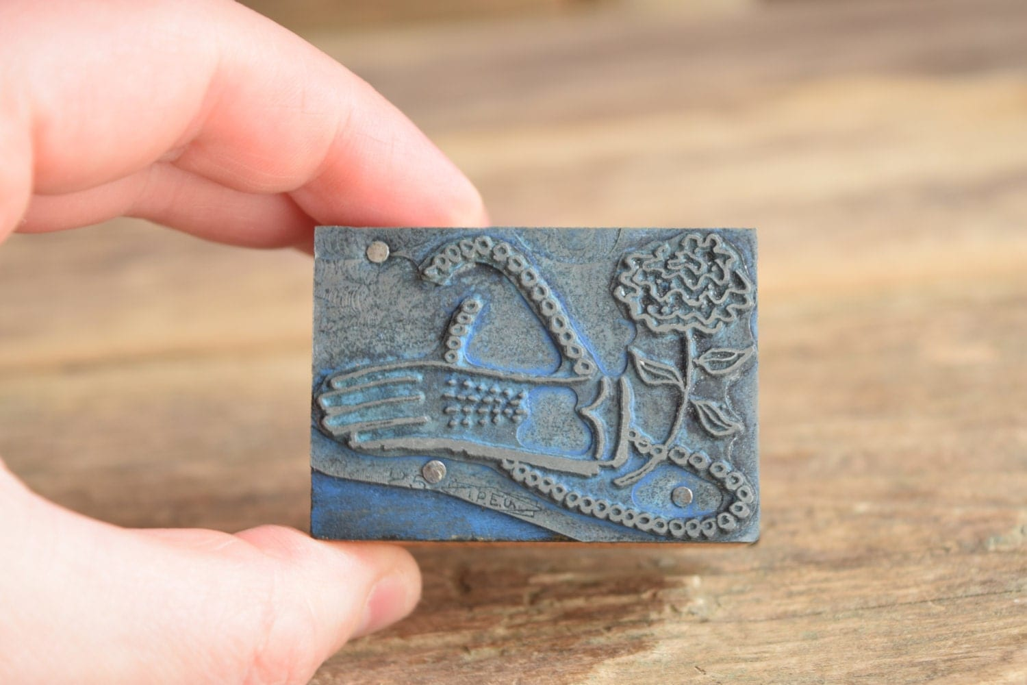 Vintage gloves printing press block vintage jewelry for Metal stamping press for jewelry
