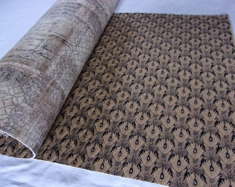 Double Sided Quilted Fabric with Extra Heavy Stabilizer for Sewing Purses, Boxes, Bowls in a Feathers Print