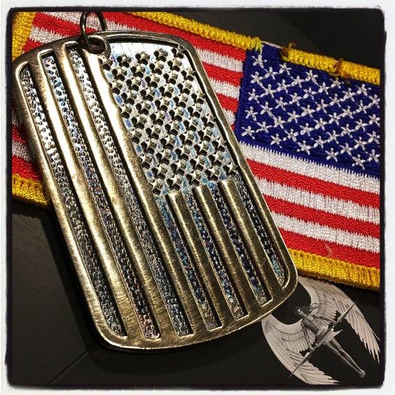 Etherial Sterling Silver .925 Talisman Luxury Designer Handcrafted Large Heavy Accurate American Flag Dog Tag with 50 Stars and 13 Stripes