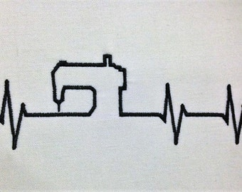 Heart Beats Sewing EKG Embroidery digital file download