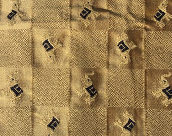 """1 yard 53"""" wide upholstery fabric- elephants check gold navy"""