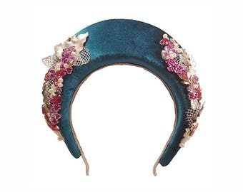 Blue/Green Velvet Jewelled Crown Millinery Headpiece