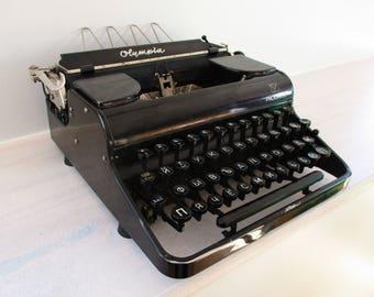 Typewriter Olympia Progress Russian 1940's Working Antique Type Writer, Portable Typewriter, Manual Black Cyrillic Writing Machine