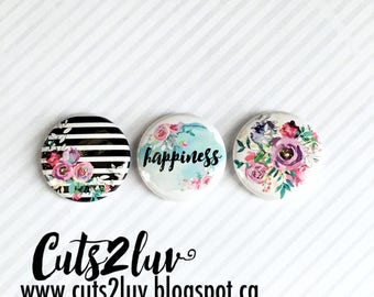 """3 Badges 1"""" Happiness"""