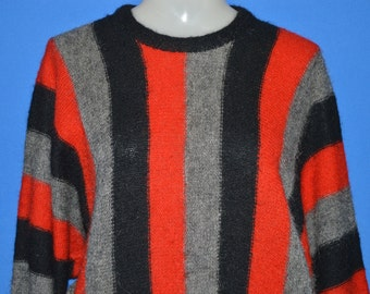70s Black Gray Red Stripes Mohair Women's Sweater Medium