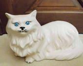 Large Vintage White Ceramic Persian Cat Statue Doorstop