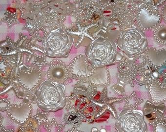 Ivory DIY 20g 100pcs Mixed Pearl Shapes Embellishments Flatback Decoden Kit