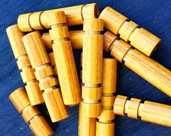 Wood beads, Customizable, 7 pieces, Mustard color, hand carved