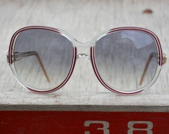 1970s Sunglasses Womens Made in France / Number 6 Oversized Sunnies / Clear Plastic Red White Trim