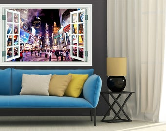 Times Square NYC Window View Removable Decal Home Decor Mural Wall Vinyl