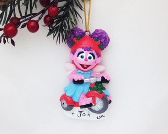FREE SHIPPING Abby Cadabby Tricycle Christmas Ornament / Personalized Christmas Ornament  / Sesame Street Ornament / Child Ornament