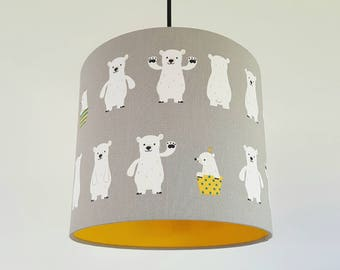 Polar Bears Fabric in Grey & Yellow Vinyl Lampshade
