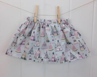 Girls Teepee Skirt - Pink and Gray Skirt - Aztec Skirt - TeePee Baby Skirt - Aztec Baby Skirt - Girls Aztec Clothing - Teepee Girls Clothing