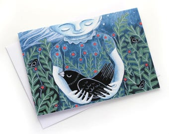 taking care of nature- illustrated greeting card