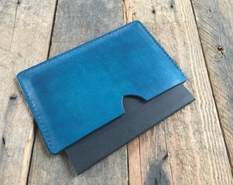 Passport Cover - Evening Blue - Hand Dyed - Veg Tan Leather - Choice of Thread Colour - Hand Stitched