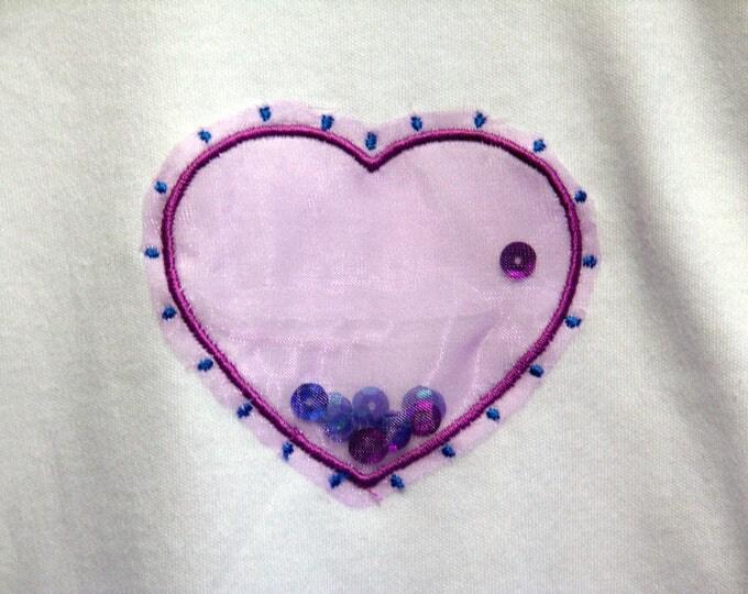 Sleeveless Bodysuit - 12-18 Months -  Machine Embroidered Applique Purple Sequin Heart
