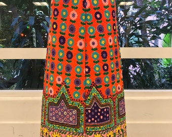 1960's Psychedelic Floral Quilted Maxi Skirt