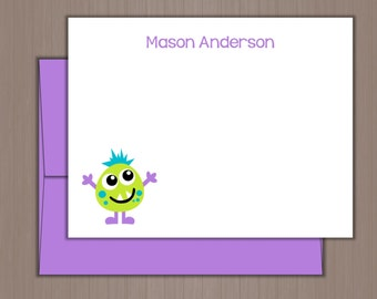 Personalized Note Card Set, Flat Note Cards, Personalized Stationery, Personalized Stationary, Thank you Notes, Monster Note Cards, Alien