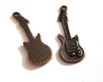 Brass guitar alloy charm , electrical guitar charm , brass charm - QTY2