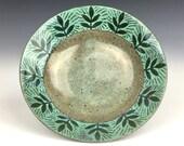 Small nature inspired ceramic ring dish, sgraffito pottery dish, pottery ring dish, ceramic trinket dish, ceramic jewelry dish, small plate