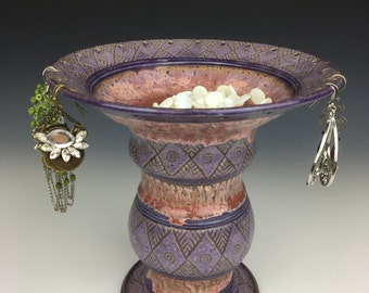 Ceramic jewelry pedestal, Ceramic jewelry bowl, ceramic ring dish, pottery earring bowl, earring holder, sgraffito pottery, earring tree