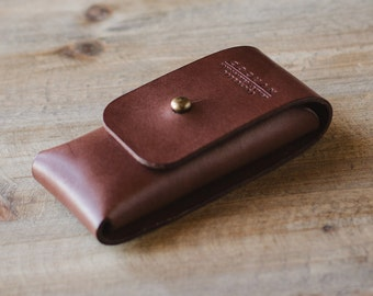 Leather pocket knife case | Leather razor case