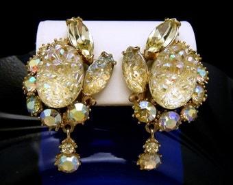 Vintage Hollycraft Clip On Earrings Citrine AB Rhinestones Lava Glass Dangles