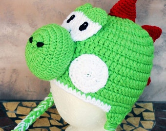 Yoshi nintendo inspired thick winter hat any size