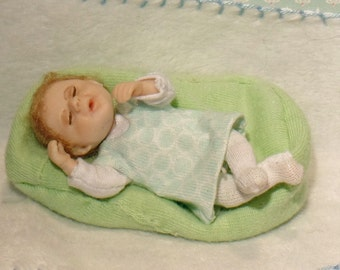 One of Kind Miniature baby dolls house little girl 1:scale dollhouse doll