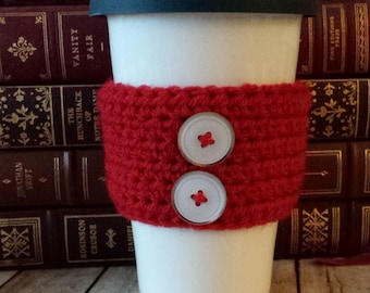 Handmade Crochet Red Coffee Cozy with White Buttons, Tea Cozy, Cup Cozy, Cup Cozies
