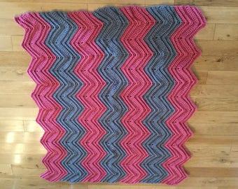 Crocheted ripple lap afghan