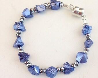 Blue Pyrite Bracelet - Chunky Bracelet - Funky Bracelet - Blue jewelry - Blue rock jewelry - Magnetic clasp - Unique jewelry -Blue Moon Rock