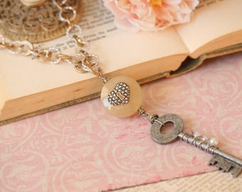 You Hold The Key >> Lock and key necklace heart lock skeleton key chunky chain mixed metals Valentines Day romantic jewelry bohemian pearls