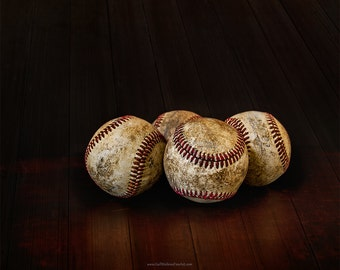 Baseball Still Life Photograph, Baseballs Against Dark Background, Sports, Baseball Game, Baseball Fine Art Print or Canvas Wrap